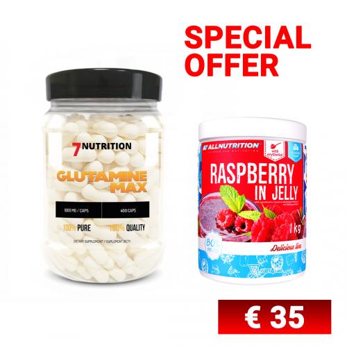 BUNDLE - Glutamine Max + Raspberry in Jelly - No Pain No Gain Nutrition