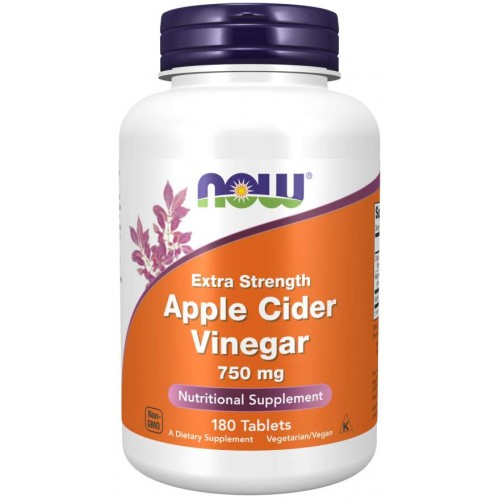 Apple Cider Vinegar, Extra Strength 750 mg Tablets - Now Foods